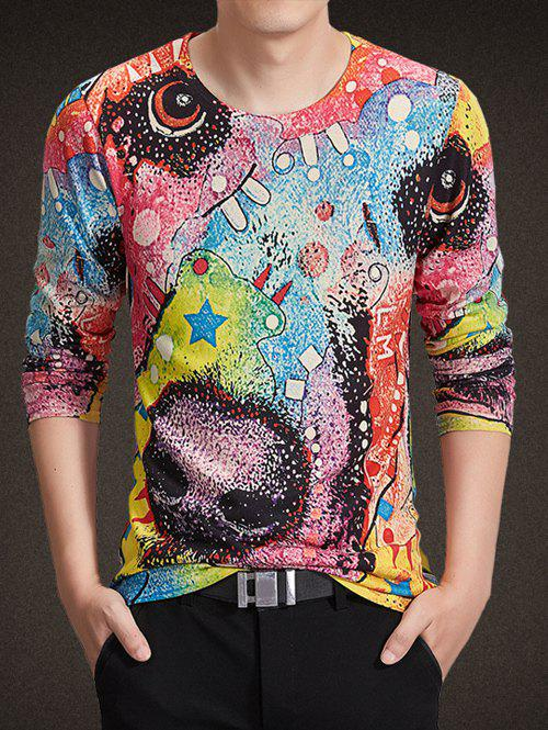 Buy Round Neck Long Sleeve Colorful Abstract Geometric Print Knitting T-Shirt COLORMIX