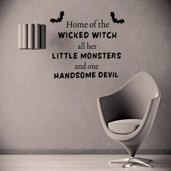 Halloween Little Monsters Quotes Room Decoration Wall Sticker - BLACK