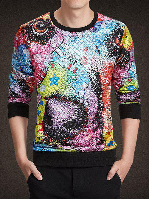 Buy Round Neck Long Sleeve 3D Colorful Abstract Print Argyle Sweatshirt COLORMIX