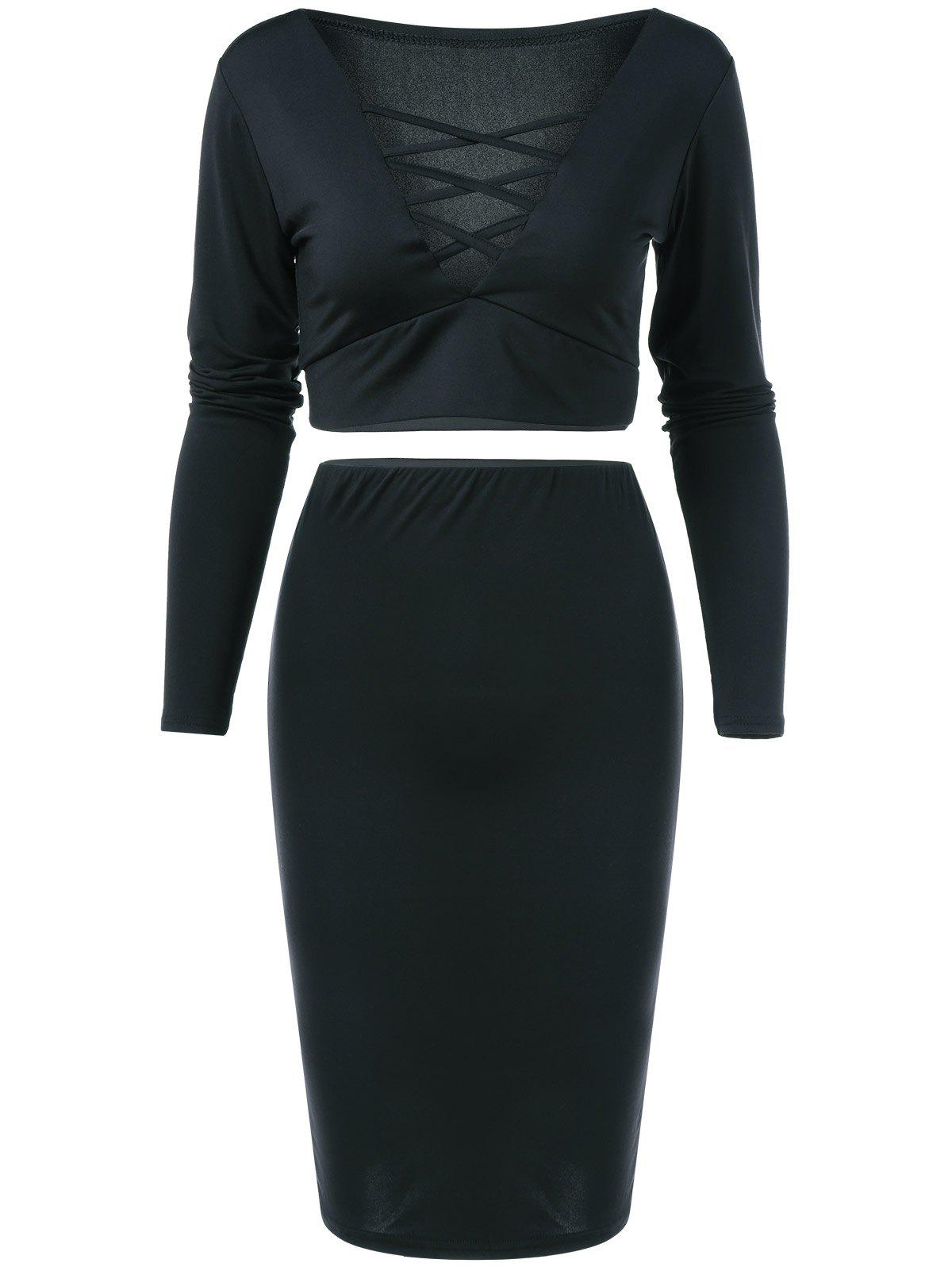 V Neck Crop Top and Pencil Skirt - BLACK M