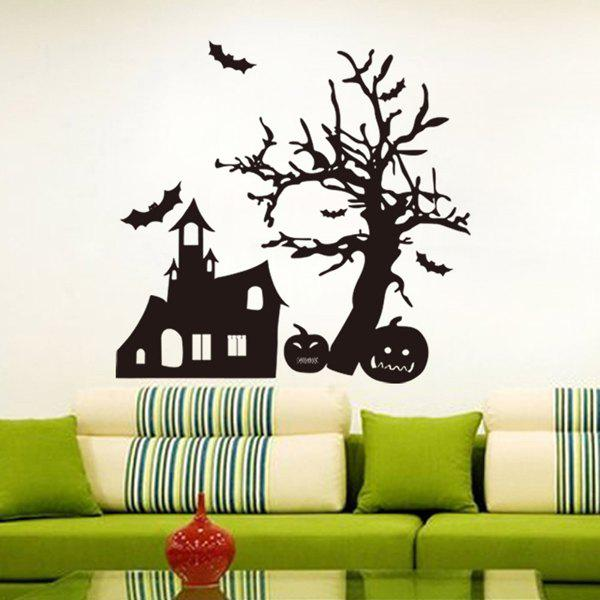 Removable Spook House and Pumpkin Pattern Halloween Wall Sticker - BLACK