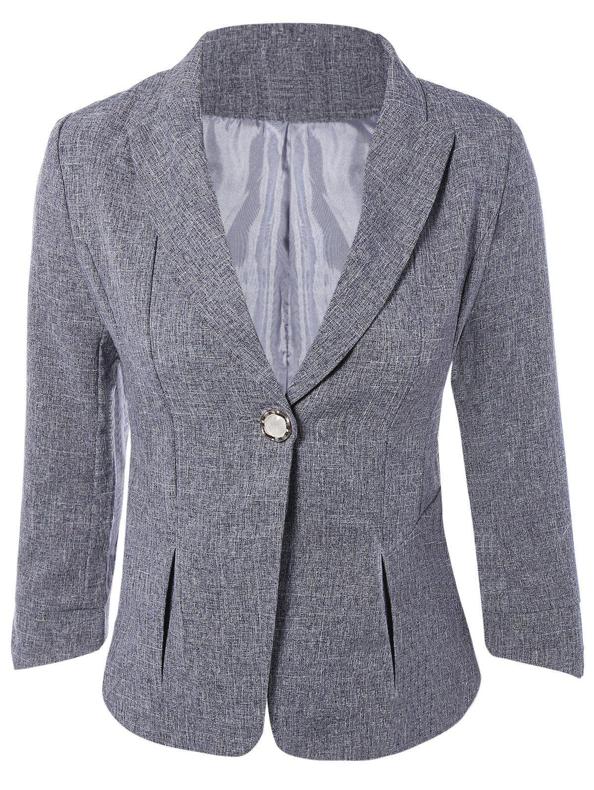 3/4 Sleeve One Button Short Jacket Blazer - GRAY L