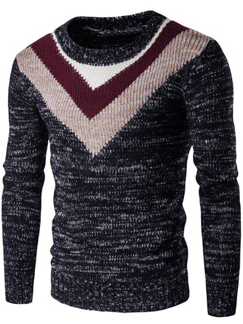 Round Neck Long Sleeve Knit Blends Geometric Pattern Sweater round neck knit blends long sleeve sweater