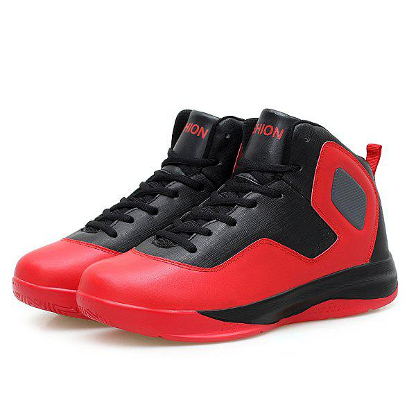 High Top Color Block Athletic Shoes - RED 41