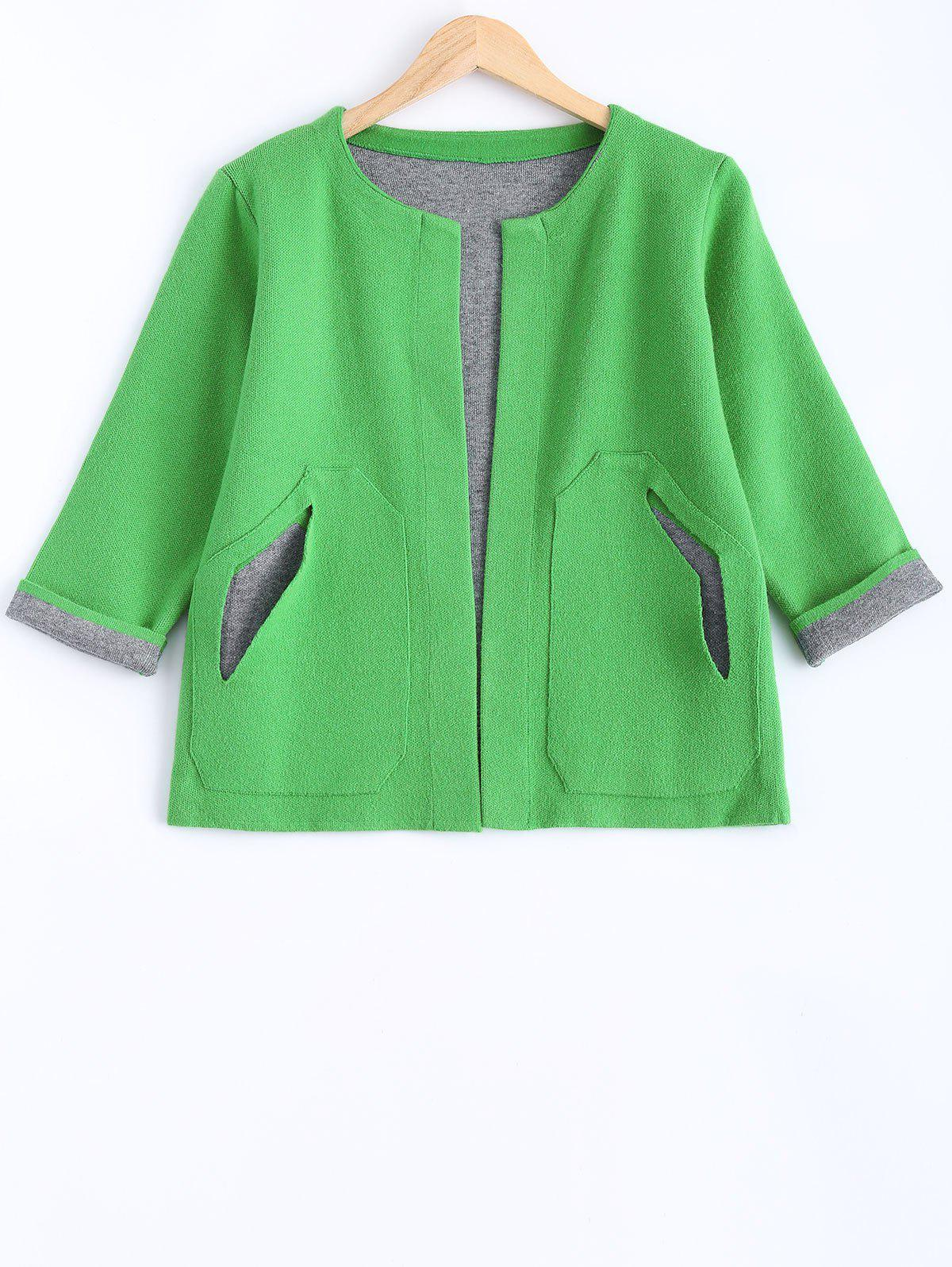 Color Block Knitted CardiganWomen<br><br><br>Size: ONE SIZE<br>Color: GREEN