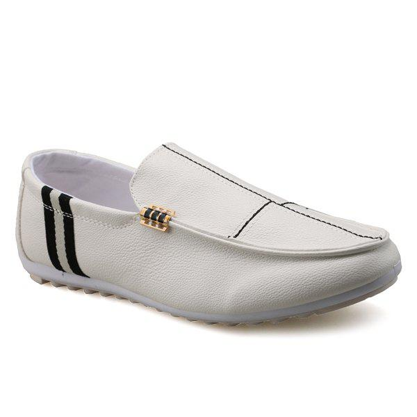 Slip-On Stitching PU Mocassins en cuir - Blanc 42
