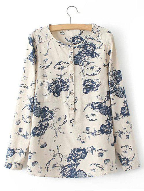 Pocket Floral Print Buttoned Shirt - LIGHT KHAKI 3XL