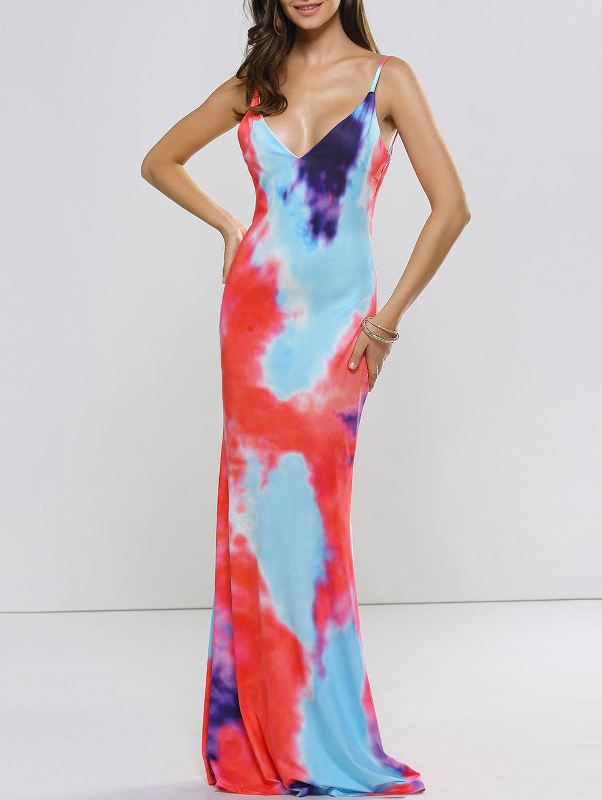 Buy Backless Tie Dyed Evening Cami Dress multicolor