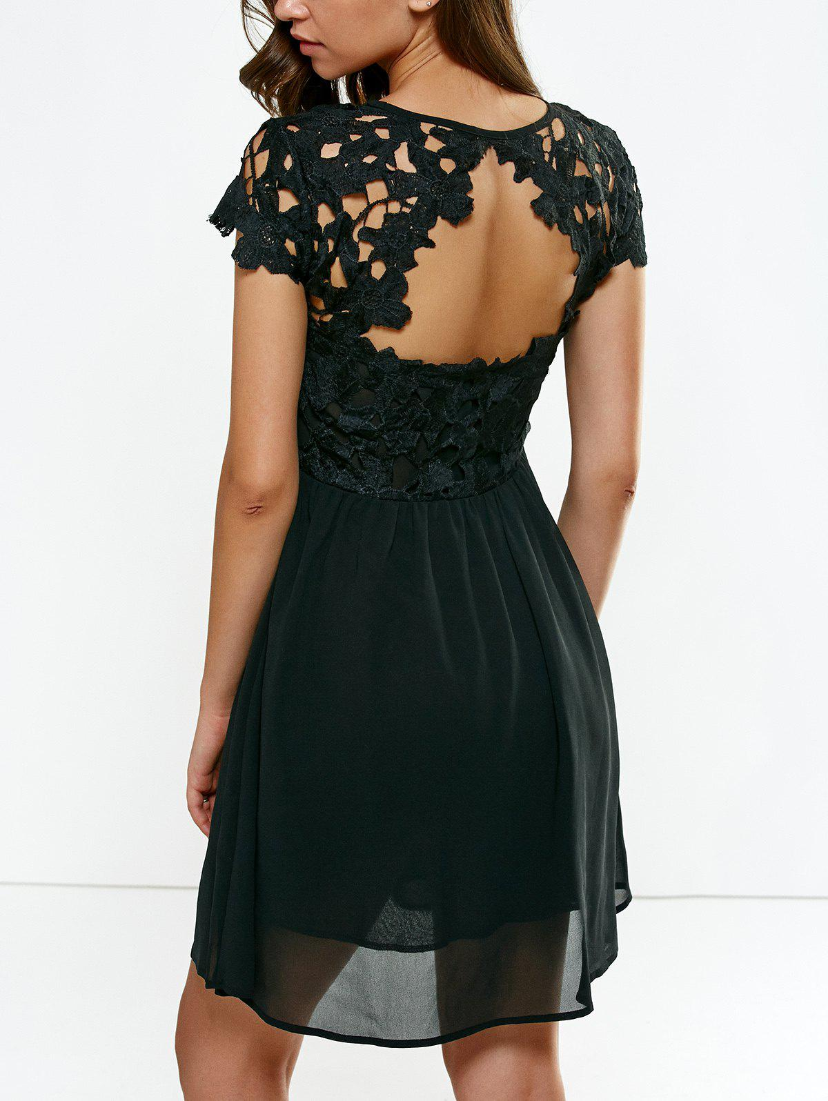 Open Back Lace Splicing Pleated Dress - BLACK S