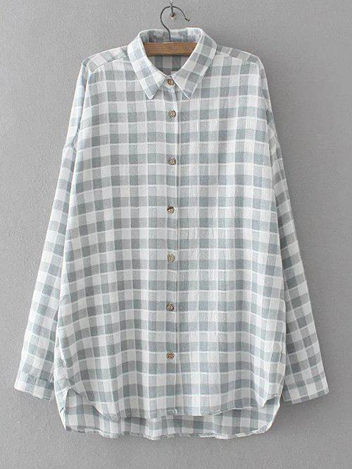 High Low Checkered Pattern Shirt - GRAY 2XL