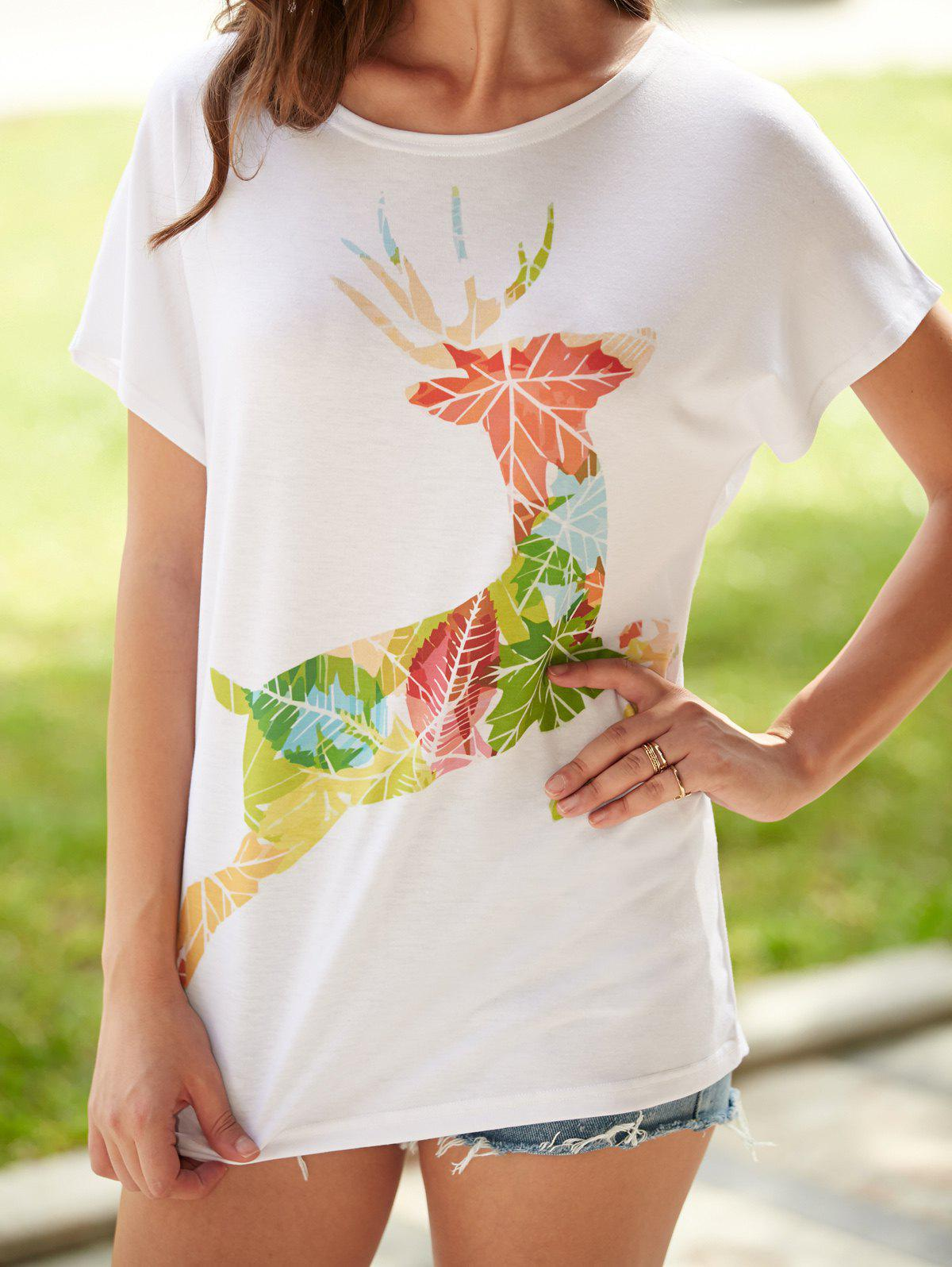 Fawn Printed Short Sleeve T-Shirt - WHITE XL
