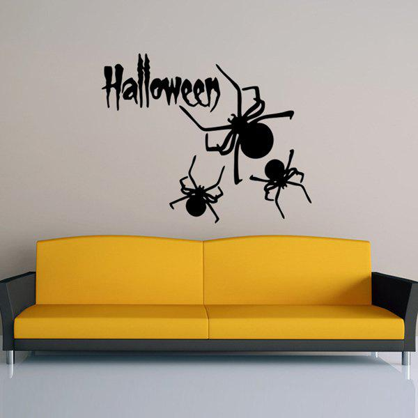 Removable Halloween Letter Spider Pattern Wall Sticker 3d pumpkin pattern crack removable wall sticker creative halloween gift