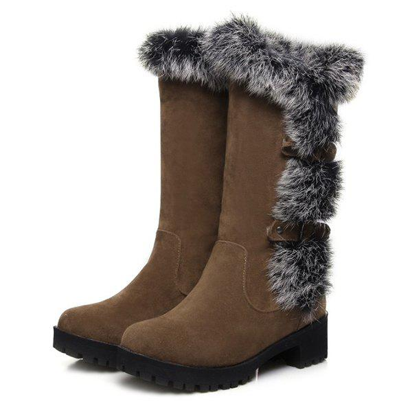 Suede Faux Fur Mid Calf Boots - BROWN 37