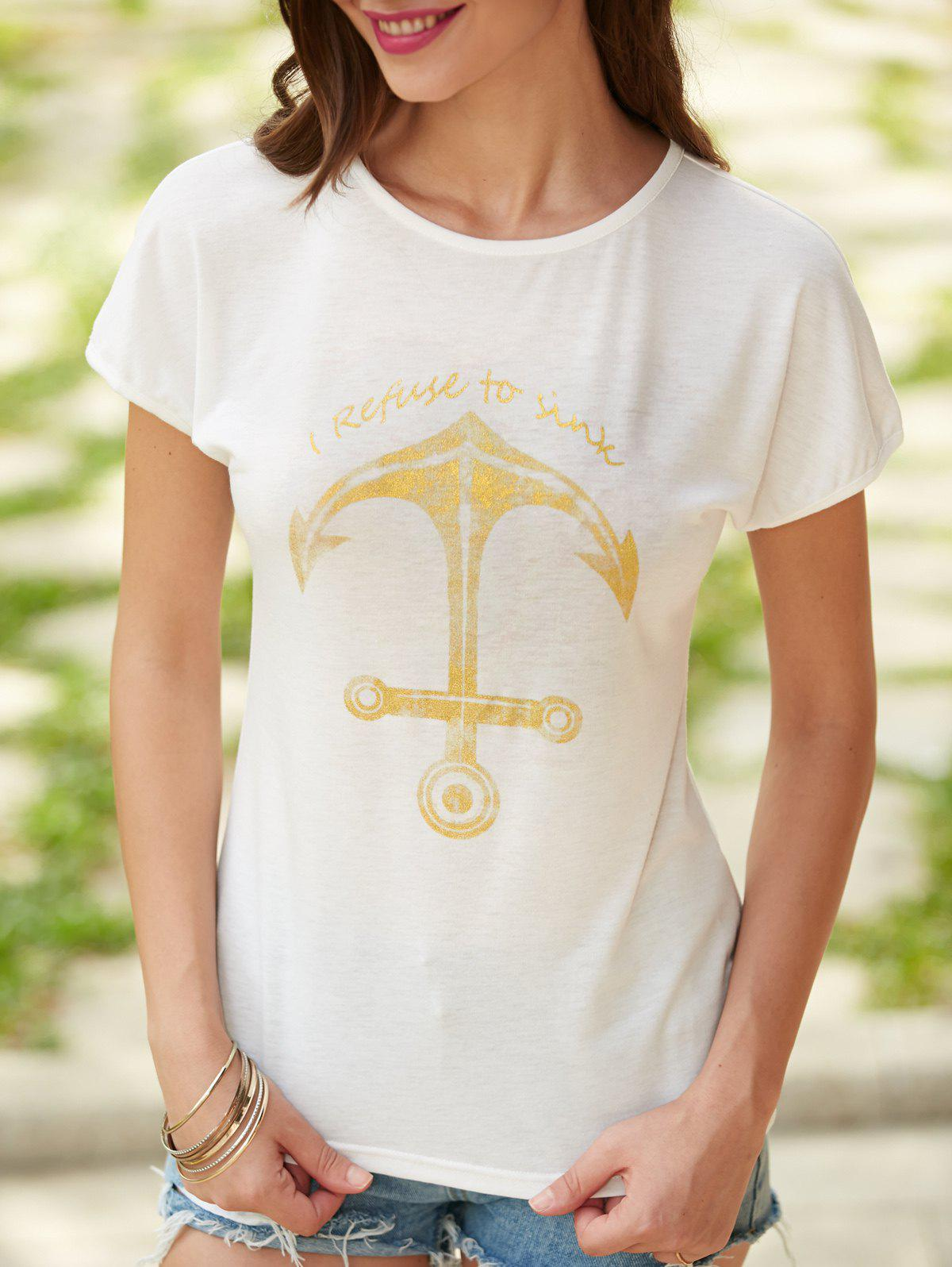 Image of Anchor Letter Print Short Sleeve T-Shirt