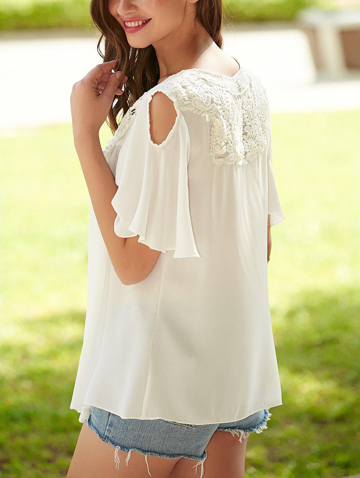Crochet Cut Out Lace Splicing Blouse - WHITE S