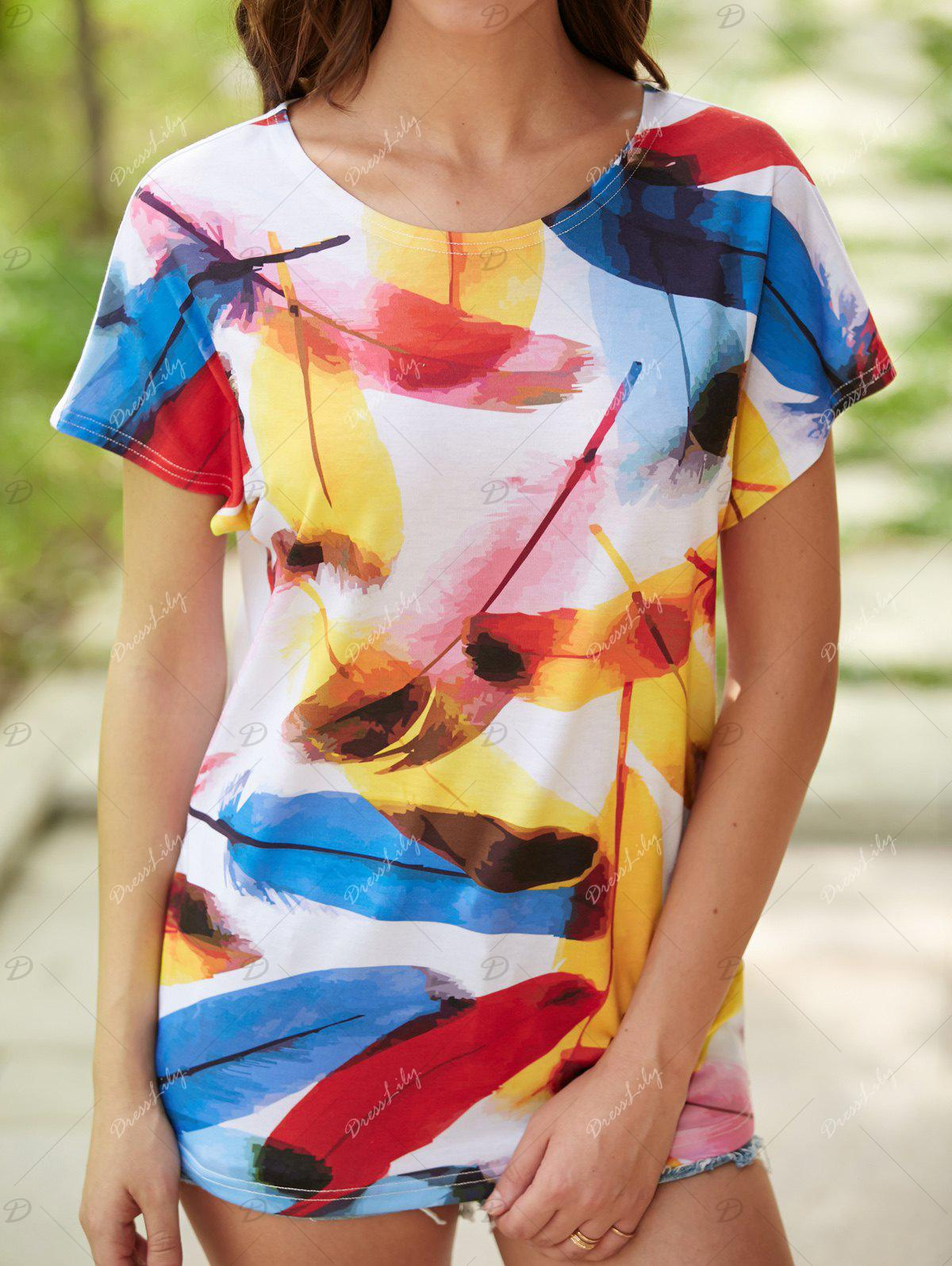 Multicolor Print Short Sleeve T-Shirt - BLUE XL