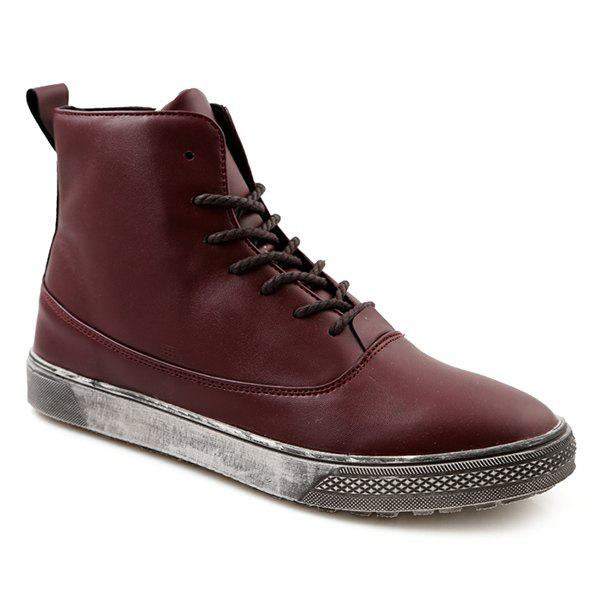 PU Leather Lace-Up Boots - WINE RED 40
