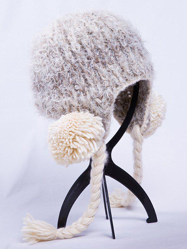 Outdoor Woolen Yarn Ball Knitted BeanieAccessories<br><br><br>Color: OFF-WHITE