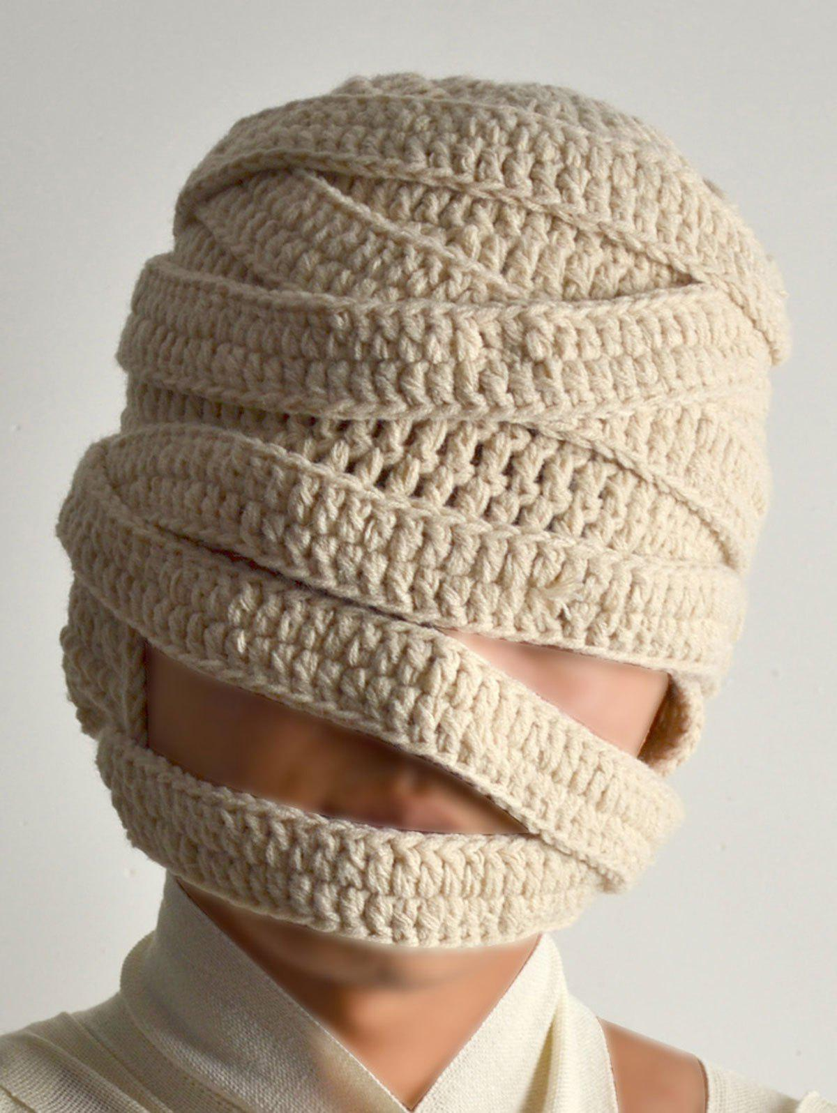 Mummy Style Stripy Knit Bandage Hat - OFF WHITE