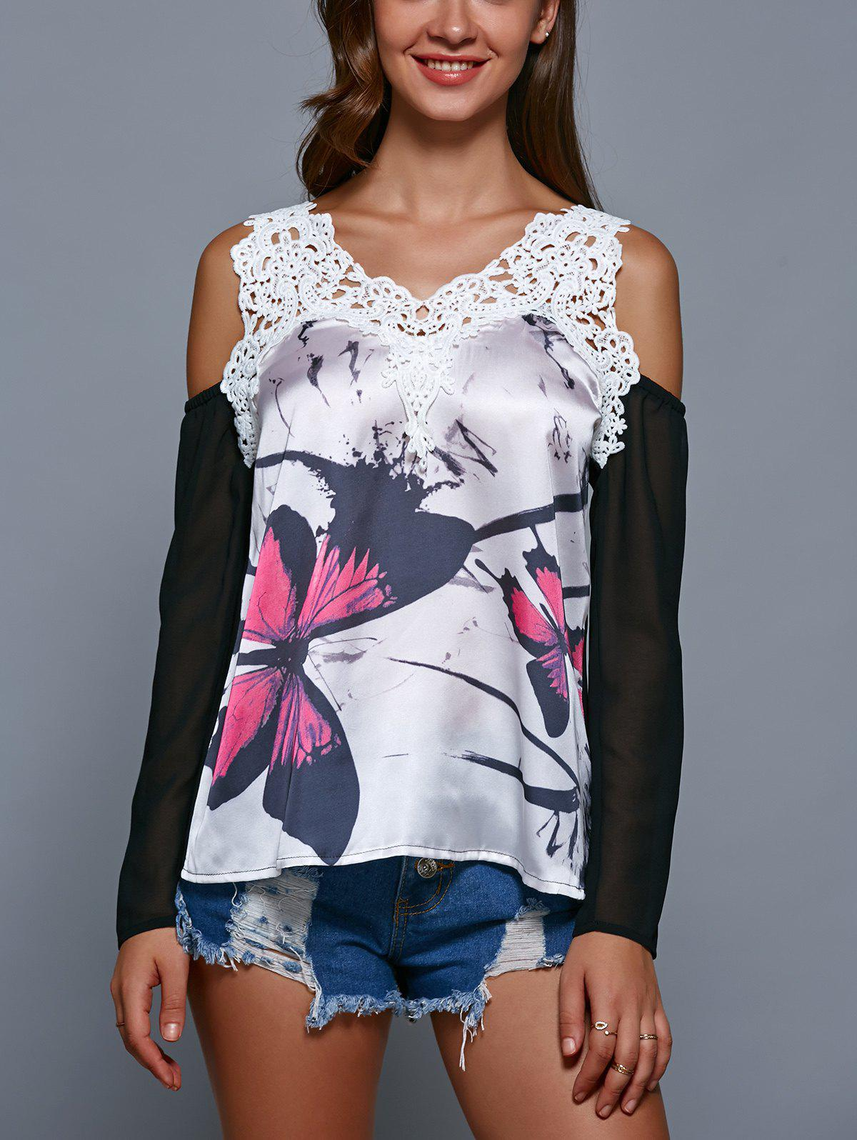 Lace Splicing Hollow Out Print T-Shirt - WHITE/BLACK S