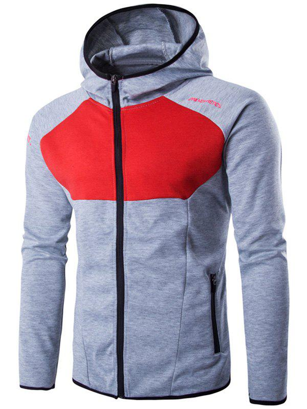 Color Block Spliced Hooded Long Sleeve Letter Print Zip-Up Hoodie color block letter print sleeveless hooded top