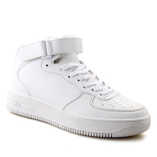 Lace-Up PU Leather High Top Casual Shoes