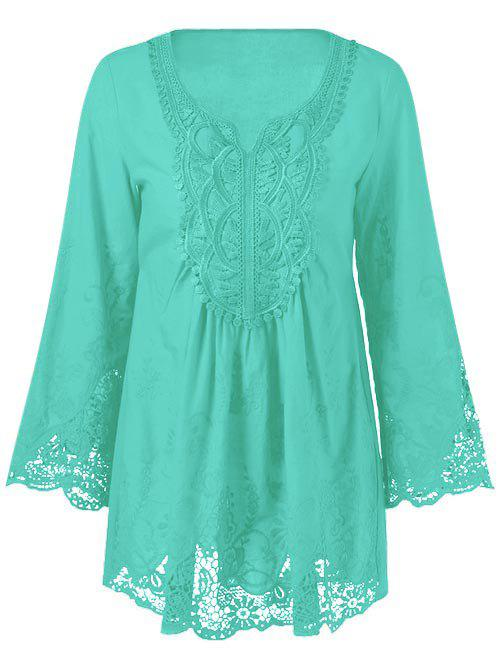 Lace Patchwork Peasant Top - MINT GREEN XL