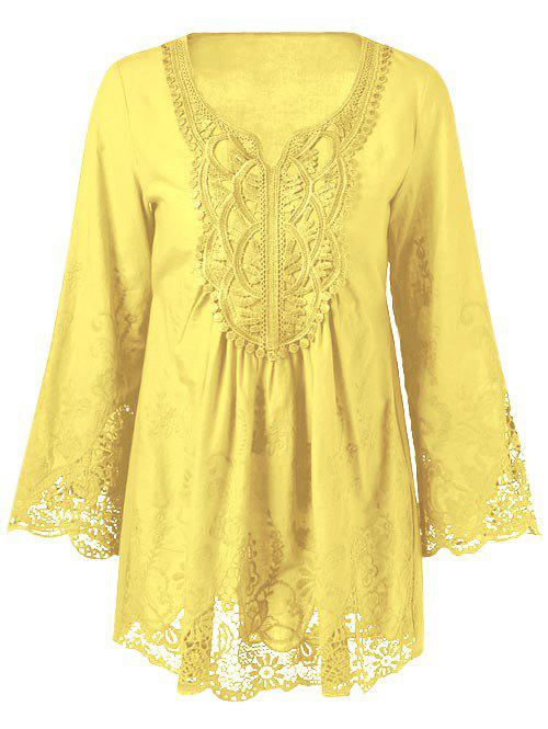 Lace Patchwork Peasant Top - YELLOW XL