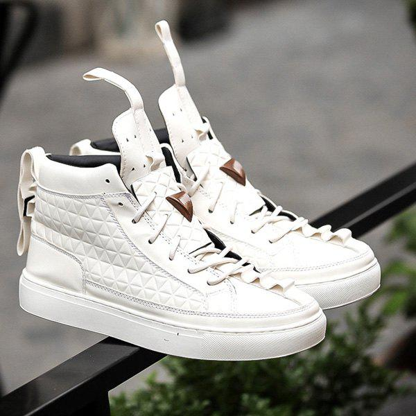 High Top Geometric Embossed Casual Shoes - WHITE 44