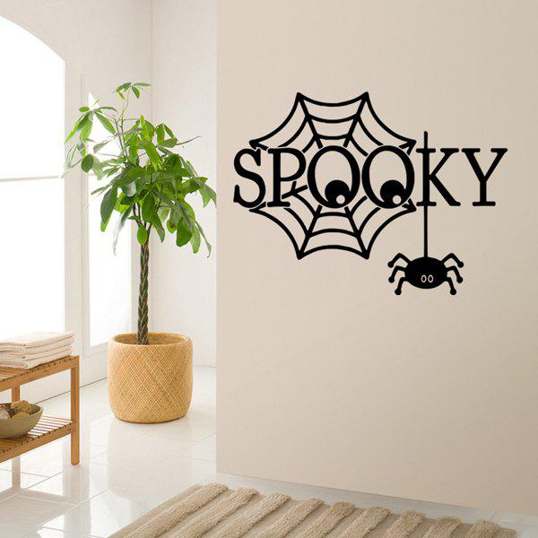 Spooky Letter Spider Web Pattern Halloween Room Wall Sticker - BLACK