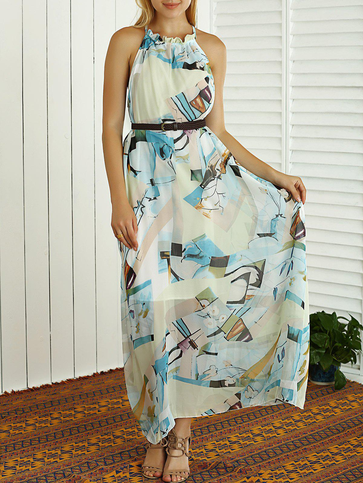 Sleeveless Printed High Waist Maxi Dress WHITE