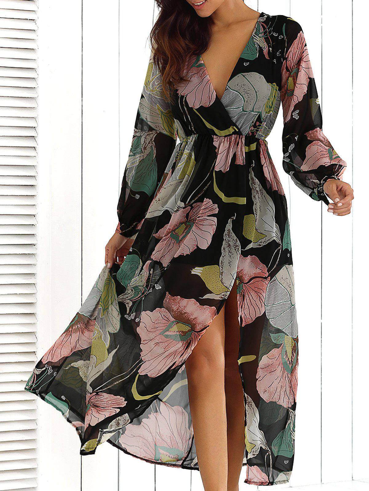 Surplice Summer Floral Maxi Beach Dress with Slit - FLORAL S