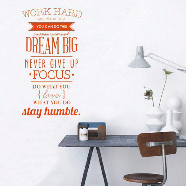 Work Hard English Inspired Proverb Study Room Wall Sticker removable living room english proverb design wall sticker