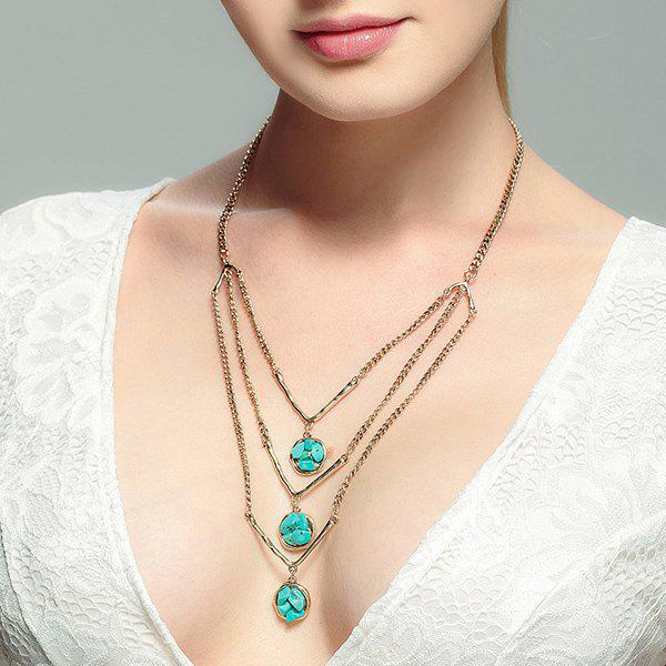 Layered Faux Turquoise Pull Chain - Or