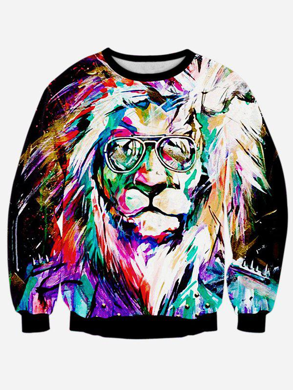 Lion 3D Print Long Sleeve Colorful Sweatshirt - BLACK M