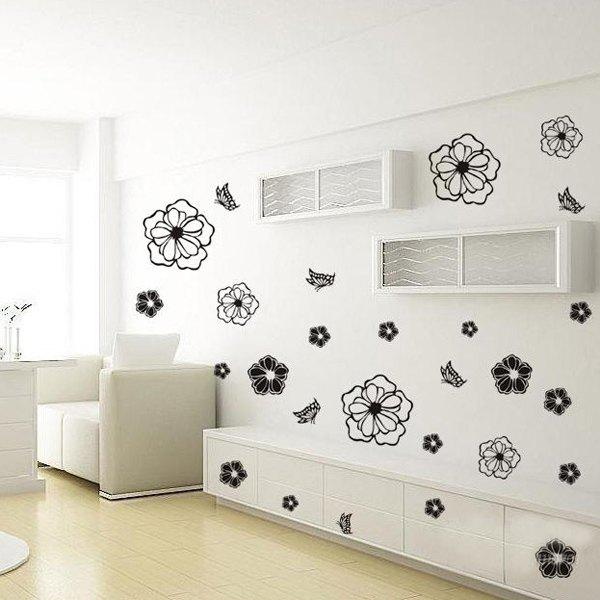 Home Decor Vinyl Art Flower Pattern Room Wall Sticker lily flower vinyl decorative wall art sticker