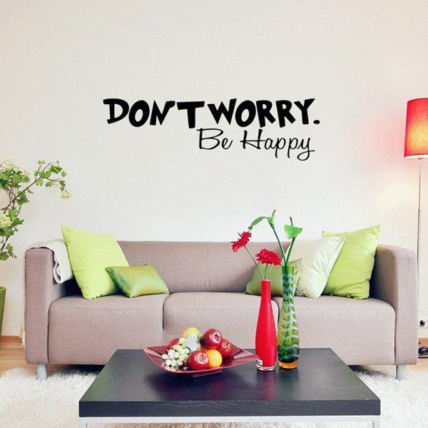 Don't Worry Be Happy Proverb Room Wall Sticker