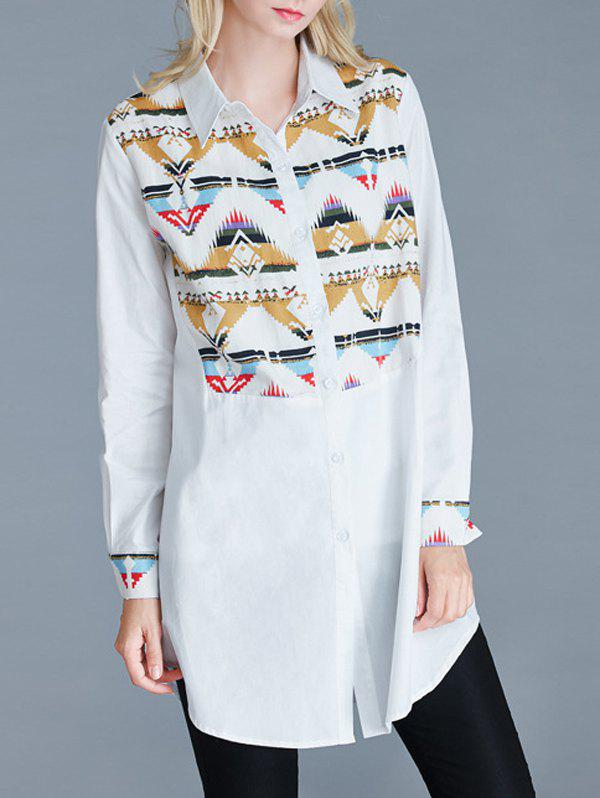 Geometric Print Loose-Fitting Buttoned Shirt
