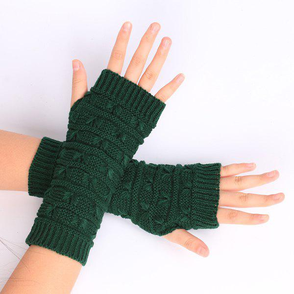 Pair of Stripy Crochet Knitted Fingerless Gloves - BLACKISH GREEN