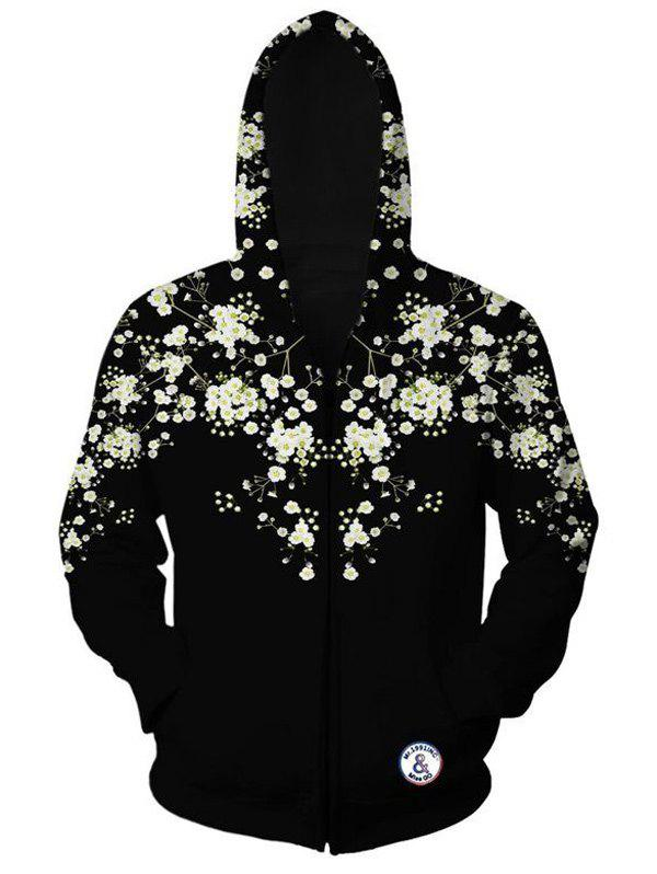 Sleeve Floral long Zippered Imprimé Hoodie - Noir XL