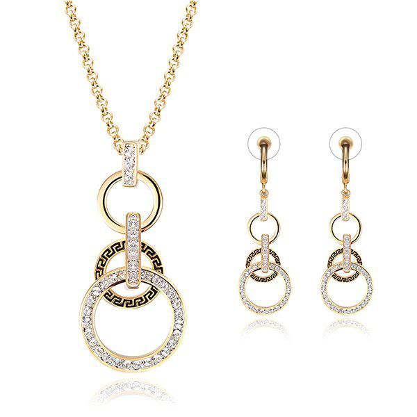 A Suit of Chic Hollow Out round Necklace and Earrings For Women