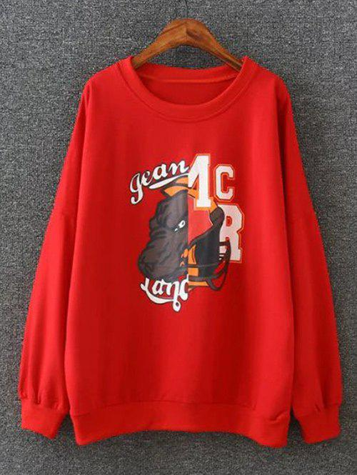 Cartoon Applique Loose-Fitting Pullover Sweatshirt - RED 2XL