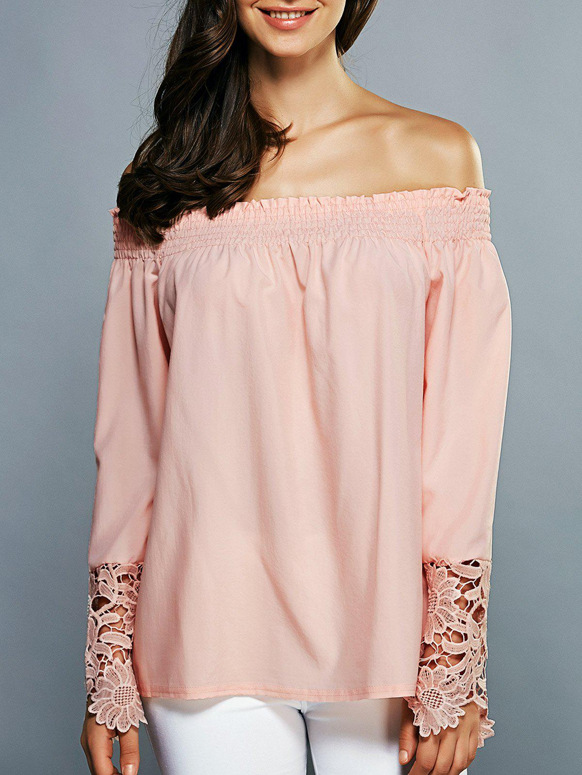 Off-The-Shoulder Laciness Cutwork Blouse off the shoulder laciness cutwork blouse