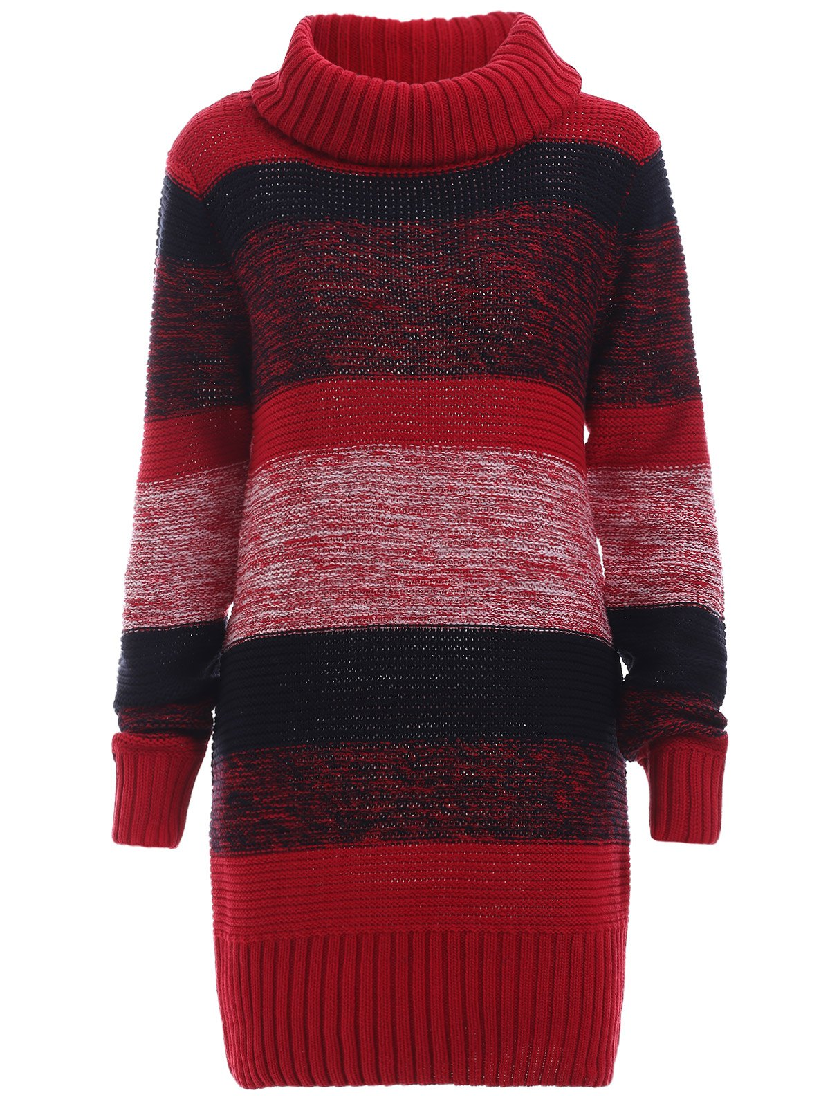 Color Block Wool Blend Sheath Sweater Dress - RED L