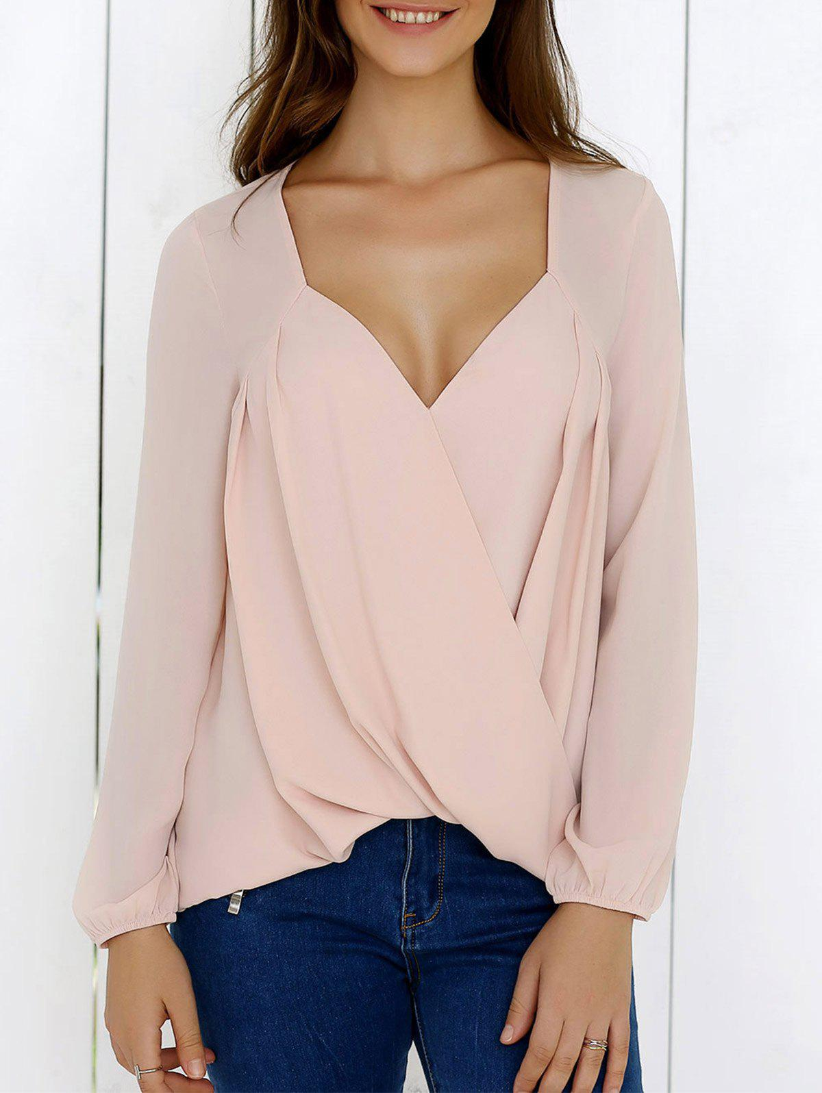 Surplice High Low Hem Chiffon Blouse