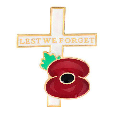 Poppy Flower Cross Brooch - DEEP RED