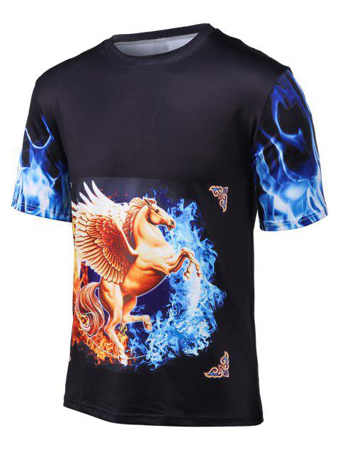 3D Horse Horse Printed Round Neck Cool T-Shirt - BLACK L