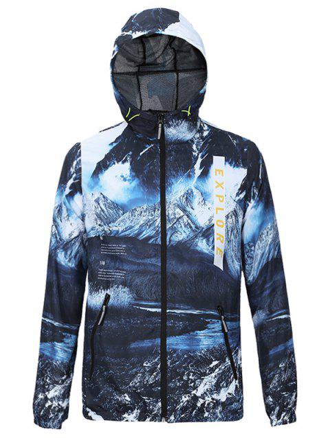 3D Jokul and Letters Print Hooded Zip-Up Jacket - BLUE XL