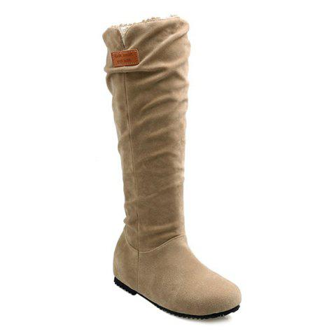 Round Toe Hidden Wedge Mid Calf Boots - LIGHT KHAKI 39