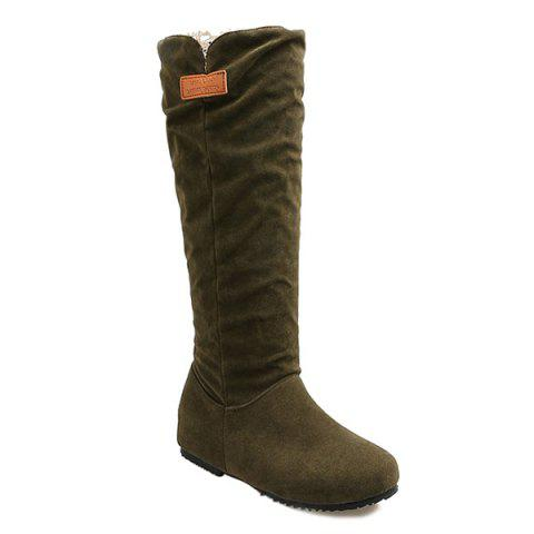 Round Toe Hidden Wedge Mid Calf Boots - ARMY GREEN 38